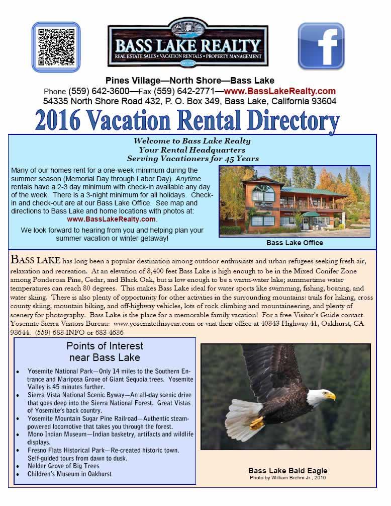 2010 Bass Lake Vacation Home Directory