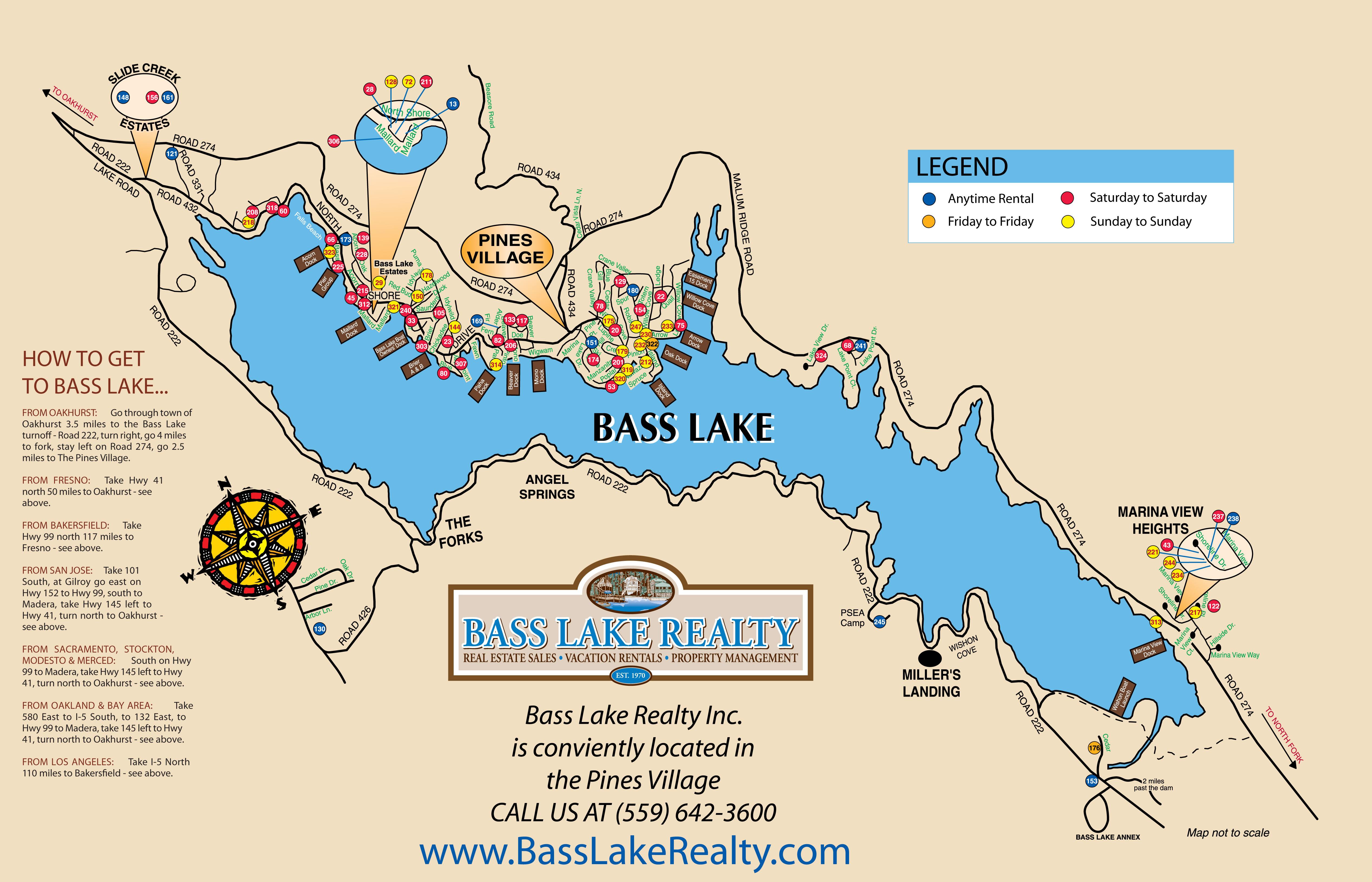 Huge Map Bass Lake California Vacation Rentals Map Bass Lake Ca