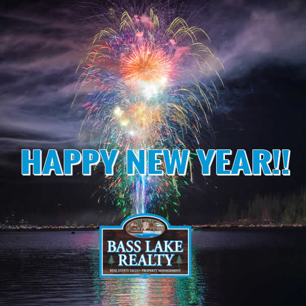Happy New Year 2021 Fireworks Image over Bass Lake from Bass Lake Realty