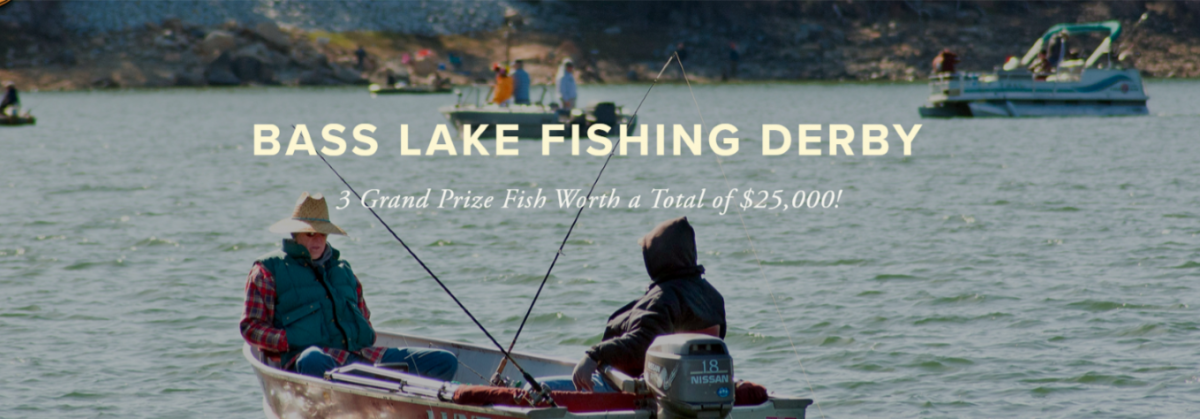 Image of Fishers in Boat on Bass Lake with Bass Lake Fishing Derby 2021 Text